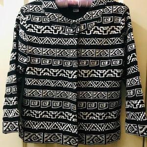 CHICOs B/W geometric pattern accent Jacket Sz 0